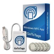 ACR122U USB NFC Tag Reader & Writer + FREE GoToTags Microsoft Windows NFC Software + 5 Bonus NTAG203 NFC Tags