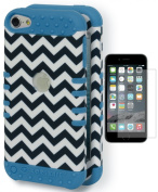 iPod Touch 5/6 Case, Bastex Heavy Duty Hybrid Protective Soft Sky Blue Silicone Cover Hard Black and White Chevron Design Case for Apple iPod Touch 5, iPod Touch 6**INCLUDES SCREEN PROTECTOR**