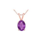 Fine Jewellery Vault UBPDOV86AMP February Birthstone Amethyst Solitaire Pendant 14K Rose Gold 1.00 CT TGW