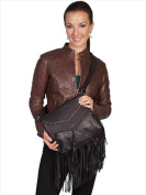 Scully B73-HB-ONE 100 Percent Leather Handbag With Studded Flap And Fringe Black