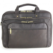 Heritage Travelware 826561 Brown Colombian Leather Double Gusset EZ Scan Portfolio & Computer Case