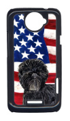 Carolines Treasures SS4038HTCONE USA American Flag With Affenpinscher HTC One X Cell Phone Cover