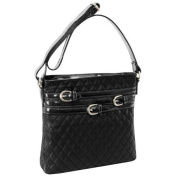 McKlein USA 11275 Parinda Clarice Quilted Multi Belt Adorned Verticle Crossbody Black