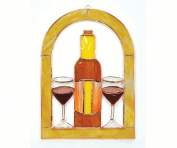 Gift Essentials GE131 Large Wine Glasses And Bottle Cathedral Window Panel
