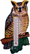 Songbird Essentials Great Horned Owl Large Window Thermometer