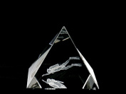Asfour Crystal 1051-65-145 2.55 L x 2.4 H x 2.55 W in. Crystal Laser-Engraved Diver Sealife & Nautical Laser-Cut