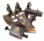 Antiquated Brass 13cm Victorian Style Nautical Sextant in Glass-Topped Rosewood Display Case