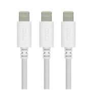 RND Accessories 3X Apple Certified Lightning Data Sync And Charge To USB Cable 1.8m - White Set of 3