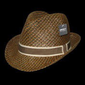 Decky 538-PAP-BRN-07 Paper Braid Woven Fedora Brown - Large & Extra Large