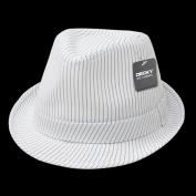 Decky 556-WHT-WHT-06 Pinstriped Fedora Hat White White - Small & Medium