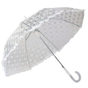 Elite Rain Frankford RAR-WH Auto-Open Polka Dot Ruffle Umbrella White