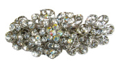 Womens / Girls Elegant 9.5cm Silver Metal Crystal Diamante Hair Barrette / Hair Clip - Clear