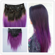 Sexyqueenhair Mongolian Virgin Ombre Purple Clip in Human Hair Extensions#1b purple 6pcs per Set 60cm