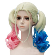 Etruke Suicide Squad Harley Quinn Gradient Pink Blue Cosplay Wigs