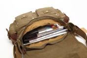 Sulandy New Style Vintage Canvas Large Unisex Messenger Shoulder Bag Leather Trim School Military Shoulder Bag Messenger Bag