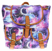 Girly HandBags Canvas Cosmos Galactic Stars Planets Print Rucksack