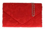 Girly HandBags Satin Lace Clutch Bag Shoulder Chain Elegant Wedding Evening Womens Gift -- Red