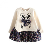 Arrowhunt Baby Girls Cute Rabbit Floral Stitching Long Sleeve Dress