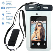 Voxkin ® ★ PREMIUM QUALITY ★ Universal Waterproof Case including ARMBAND ✚ COMPASS ✚ LANYARD - Best Water Proof, Dustproof, Snowproof Bag for iPhone 6S, 6, 6 Plus, 5, Galaxy S6 S5, Note 4 or Any Phone