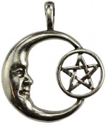 AzureGreen ACPENM Pentagram Moon Celestial Amulet