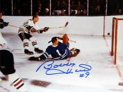 Autograph Authentic flat-8x10-hull-scoresonbower Hull Scores on Bower Autographed 8X10 - Toronto Maple Leafs - Chicago Blackhawks