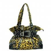 Ritz Enterprises BT940-YE-LP Western Leopard Print Bling Shoulder Bag With Rhinestone Belt Buckle Front - Yellow Leopard