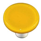 Hot Knobs HK1012-KRA Sunflower Yellow Round Glass Cabinet Knob - Aluminium Post