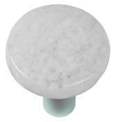 Hot Knobs HK8060-KRA Granite Clear & White Round Glass Cabinet Knob - Aluminium Post