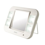 Jerdon Style J1015 5X-1X LED Lighted Makeup Mirrror White AC and Battery Powered