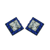 Vera & Co. Inc. 2S-6145SCL Sterling Silver Stud Ferido Crystal Square Earring-Blue and white