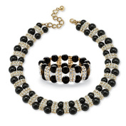 PalmBeach Jewellery 54243 2 Piece Black Beaded Necklace and Bracelet Set in Yellow Gold Tone