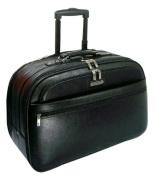 K-Cliffs Full Grain Leather Carry-On Rolling Briefcase 21 x 35cm x 25cm . Black