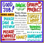 Hero Arts 6.4cm x 3.2cm . Rubber Woodblock Stamp Set - Notes From The Teacher Set 9