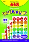 Trend Enterprises 1.9cm . Stinky Sticker Smiles And Stars Variety Pack Sticker Pack 648