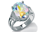PalmBeach Jewellery 219556 5.81 TCW Oval-Cut Aurora Borealis Cubic Zirconia Cocktail Ring in Sterling Silver Size 6