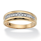 PalmBeach Jewellery 507299 Mens 1/5 TCW Diamond Band in 18k Gold over Sterling Silver Size 9