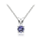 Lion Jewellers P13982T 0.5 Carat Sterling Silver Tanzanite Round Solitaire Necklace