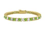 Fine Jewellery Vault UBBRAGVYRD1311000CZPR Peridot Tennis Bracelet with Cubic Zirconia 10CT. TGW. on 18K Yellow Gold Vermeil. 18cm .