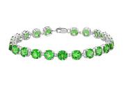 Fine Jewellery Vault UBUBR55W14E 14K White Gold Prong Set Round Emerald Bracelet 12 CT TGW May Birthstone Jewellery