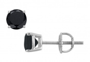 Fine Jewellery Vault UBER14WH4RD200BOX 14K White Gold Round Black Onyx Stud Earrings 2 CT TGW.