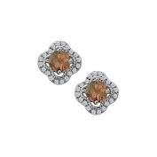 Fine Jewellery Vault UBNER40869W14CZSQ June Birthstone Smoky Quartz with CZ Earrings in 14K White Gold