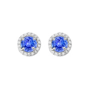 Fine Jewellery Vault UBUNER40589AGCZTZ600 December Birthstone Created Tanzanite and CZ Halo Stud Earrings in 925 Sterling Silver 2.25 CT T