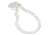 Fine Jewellery Vault UBNKBK7044FWWH Freshwater Cultured White Pearl 80 in. Strand Necklace 8.5 mm.