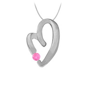 Fine Jewellery Vault UBNPD30889W14PS September Birthstone Pink Sapphire Heart Pendant Necklace in 14kt White Gold 0.15 CT TGW.