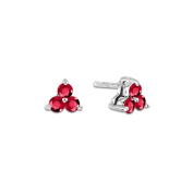 Luis Creations ERL795RU 0.40 Ct. Natural Heated Ruby Three Stone Earring In 14K Gold