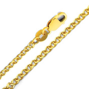 Precious Stars SEC0187160 Yellow Gold 1.7 mm. Flat Wheat Chain 16 in. Necklace