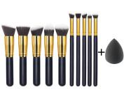 EmaxDesign 10 + 1 Piece Makeup Brush Set With Bag, 10 Piece Professional Cosmetics Brushes + 1 Piece EmaxBeauty® Makeup Blender Sponge.