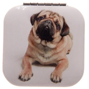 Square Mirror Compact by Laura Billingham - Pug Design B