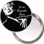 """Compact, Makeup Button Mirror with Edith Piaf image """"Je ne Regrette Rien"""" (I Regret Nothing) delivered in a black organza bag."""