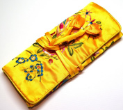 Bright Yellow Embroidered Silk Floral Make Up Bag/ Wrap /Jewellery Roll